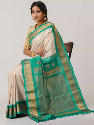 Ivory-Sea Green Gadwal Silk Saree