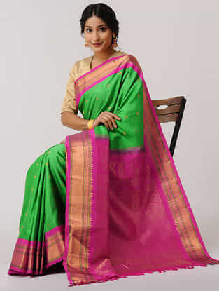 Green-Pink Gadwal Silk Saree