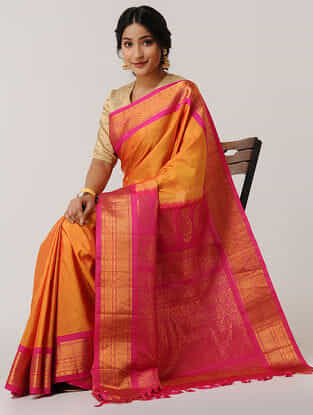 Orange-Pink Gadwal Silk Saree