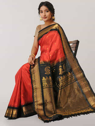 Red-Black Gadwal Silk Saree