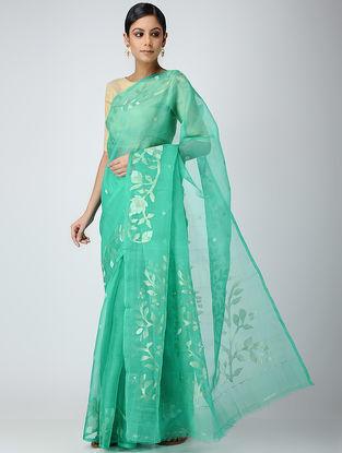 Green Muslin Silk Jamdani Saree with Zari