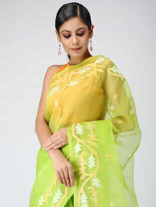 Green-Beige Muslin Silk Jamdani Saree
