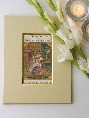 Mughal Romantic Scene Miniature Painting 10in x 7.5in