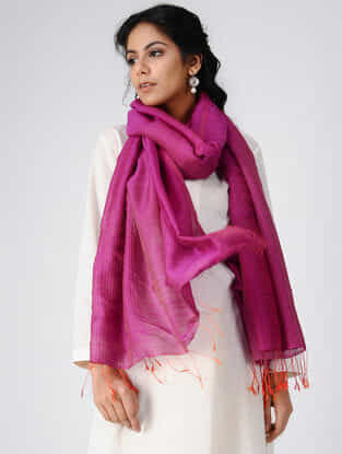Pink-Orange Wool Silk Shawl