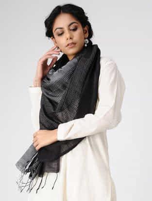 Black-Ivory Wool Silk Shawl