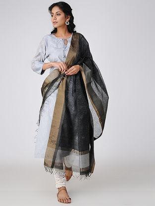 Black Block-printed Cotton Silk Dupatta with Zari and Mukaish