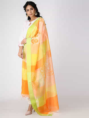 Yellow-Orange Block-printed Cotton Silk Dupatta with Woven Border