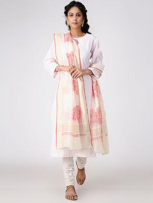 Ivory-Green Block-printed Cotton Silk Dupatta with Zari Border