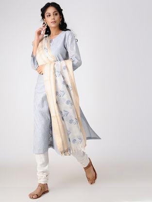 Ivory-Blue Block-printed Cotton Silk Dupatta with Woven Border