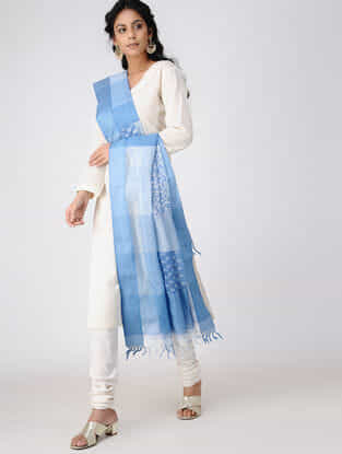 Ivory-Blue Block-printed Cotton Silk Dupatta with Woven Border
