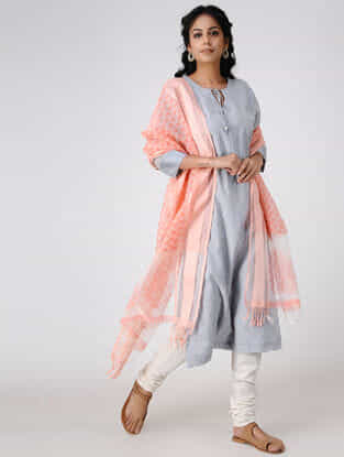 Pink-Ivory Block-printed Cotton Silk Dupatta with Woven Border