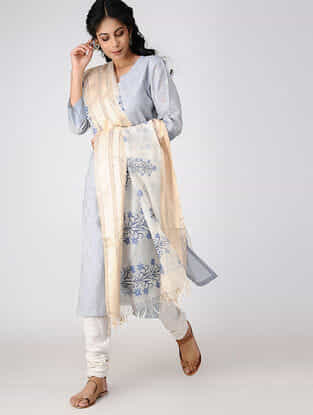 Ivory-Blue Block-printed Cotton Silk Dupatta with Zari