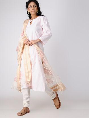Ivory-Pink Block-printed Cotton Silk Dupatta with Zari