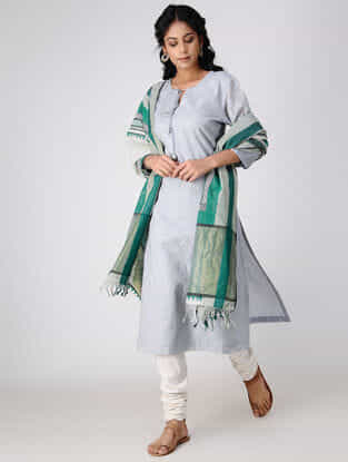 Ivory-Green Block-printed Cotton Silk Dupatta with Zari