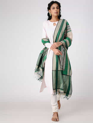 Ivory-Green Block-printed Cotton Silk Dupatta with Woven Border