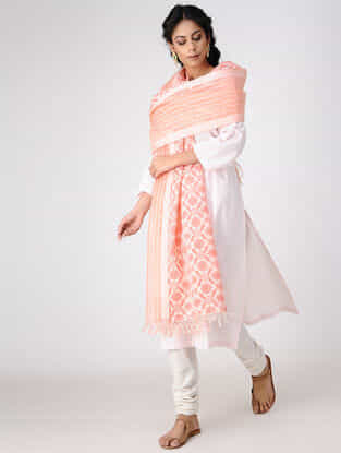 Ivory-Pink Block-printed Cotton Silk Dupatta with Woven Border