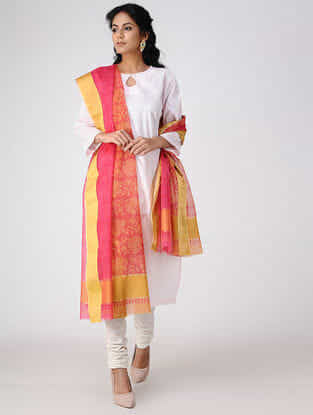 Pink-Yellow Block-printed Cotton Silk Dupatta with Zari