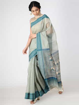 Ivory-Blue Block-printed Cotton Silk Saree with Woven Border