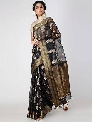 Black Block-printed Cotton Silk Saree with Zari