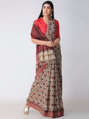 Ivory-Red Block-printed Cotton Silk Saree