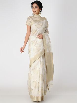 Ivory Block-printed Cotton Silk Saree with Zari
