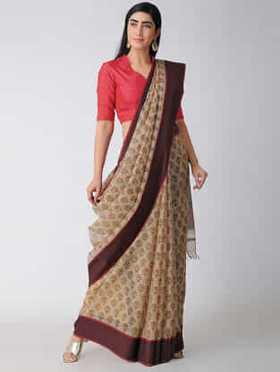 Beige-Maroon Block-printed Cotton Silk Saree