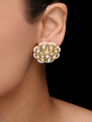 White Kundan Inspired Gold Tone Earrings with Pearls