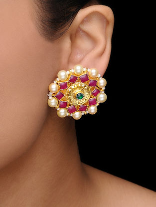 Pink-Green Kundan Inspired Gold Tone Earrings with Pearls