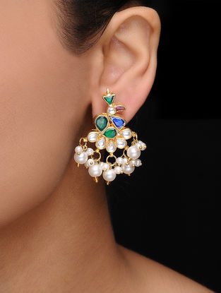 Green-Blue Kundan Inspired Gold Tone Earrings with Pearls