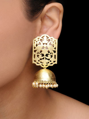 Gold Tone Pearl Jhumkis