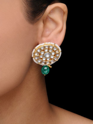 White-Green Kundan Inspired Gold Tone Earrings with Pearls