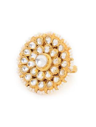 Kundan Inspired Gold Tone Pearl Beaded Adjustable Ring