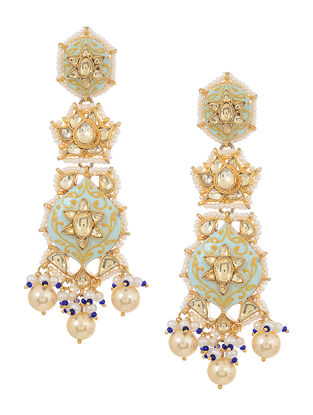 Blue Meenakari Kundan Inspired Gold Tone Pearl Beaded Earrings