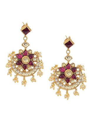 Purple Kundan Inspired Gold Tone Pearl Beaded Earrings