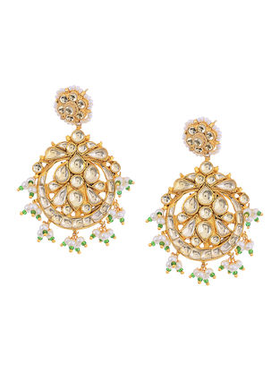 Green Kundan Inspired Gold Tone Pearl Beaded Earrings