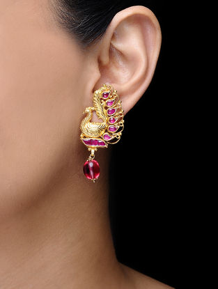 Pink Gold Tone Kundan-inspired Earrings
