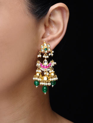 Pink-Green Gold Tone Kundan-inspired Earrings