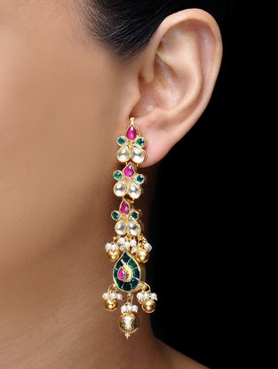 Pink-Green Kundan-inspired Earrings