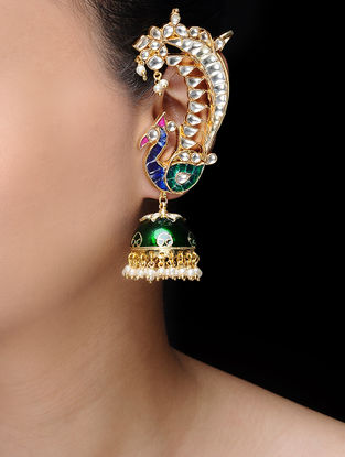 Green Gold Tone Kundan-inspired Jhumkis