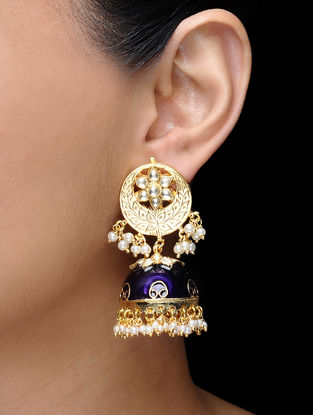 Blue Gold Tone Kundan-inspired Jhumkis