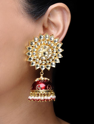 Red Gold Tone Kundan-inspired Jhumkis