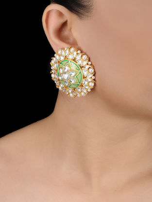 Green Gold Tone Kundan Inspired Earrings
