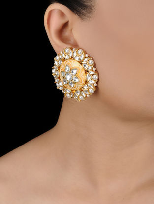 Ivory Gold Tone Kundan Inspired Earrings