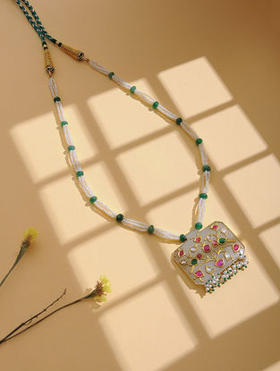 Jade and Emerald Gold Necklace with Inlay Work