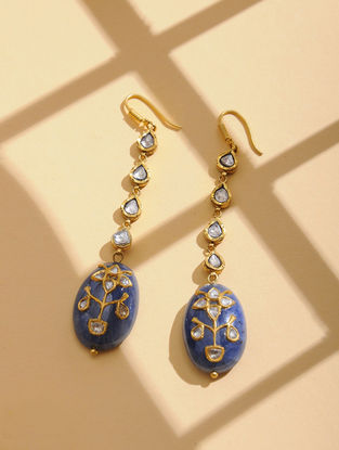 Red-Green Enameled Polki Gold Earrings with Sapphire