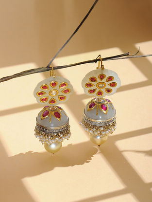 Ruby and Jade Diamond Gold Jhumkis with Inlay Work