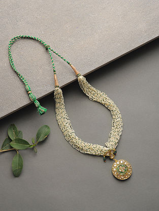 Pearl and Emerald Beaded Polki Gold Necklace