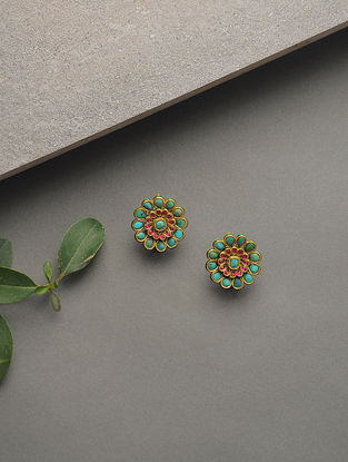 Red-Green Enameled Turquoise and Ruby Gold Earrings