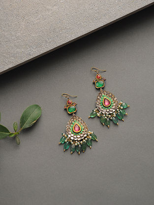 Emerald and Ruby Polki Gold Earrings