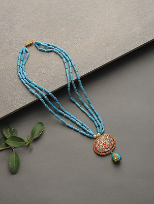 Turquoise and Ruby Polki Gold Necklace